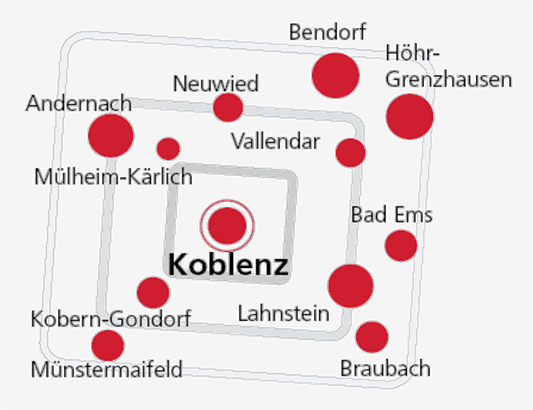 Sendegebiet von Antenne Koblenz